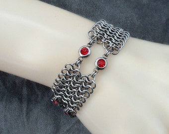 Stainless Steel & Red Glass Crystal Chainmaille Cuff Bracelet
