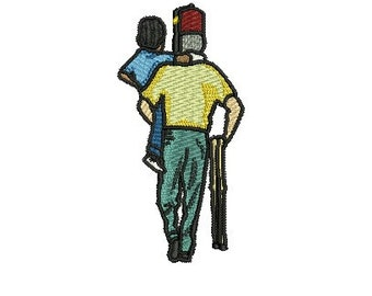 Shriner with child embroidery design