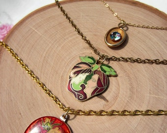 Adam and Eve charm necklace. Vintage upcycled enamel charm necklace. Apple necklace. Antique gold toned necklace. Gift for her.