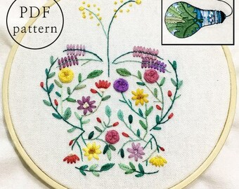 plus_ Bonus Free Pattern_Flower Butterfly__PDF files_+Reversed Pattern_instant download files_Hand Embroidery Pattern_NewUpdatedGuide!