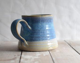 Breakfast latte mug in Beach Blue glazed stoneware ceramic
