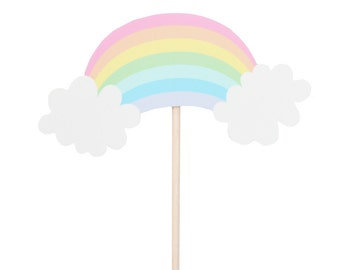 Pastel Rainbow Cupcake Toppers - Pastel Rainbow Birthday Party - Unicorn Birthday Party - Rainbow Party Decor