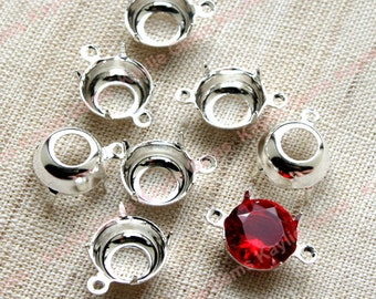 8mm Sterling Silver Plated Round Open Back Prong Settings 1 Ring 2 Ring - 12pcs