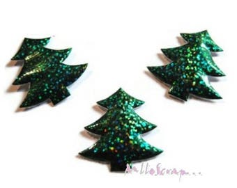 Set of 5 Christmas trees Christmas fabric embellishment scrapbooking card (ref.310) *.