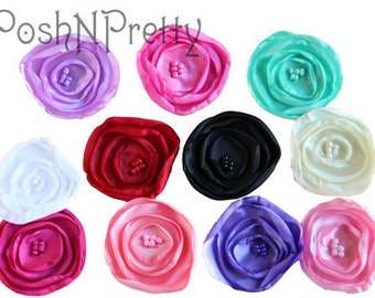 "3"" Satin Singed Layer fabric flower with beads-Set of 5- Choose COLORS"