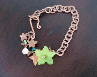 Ivy and green flower charm bracelet