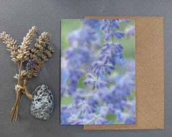 Lavender, Photographic card, Nature greeting card, Floral, Notecard, card for her, card for nature lovers.