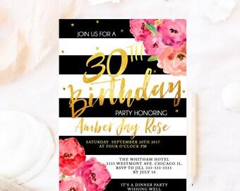 Birthday invitation, milestone birthday invite, birthday invitation, floral birthday invitation, gold foil birthday party