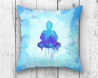 THROW PILLOW, Buddha Pillow case, Watercolor Buddha Decor, Blue Pillow Cushion, Refreshing Spiritual Zen Home Decor, India Design