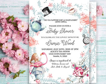 Alice In Wonderland Invitation-Baby Shower Invitation-Tea Party Invitation -Shower Tea-Wonderland tea party-vintage-printable-you print