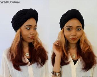 Black Turban Hat Womens Turban Cloche Stretch Turban Cap Womens Hat Cotton Jersey - Choose Your Color