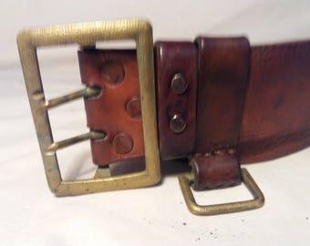 Vintage 1950's Bulgarian Army Officer Dark Brown Leather Belt