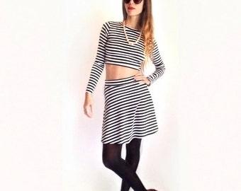 2-Piece Karma Stripe Set Long Sleeve Crop and High Waist Skater Skirt