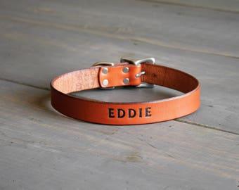 Leather Dog Collar - Custom Dog Collar - Personalized Collar - Large Dog Collar - Engraved Pet Collar  - Dog ID tag - Adjustable Collar
