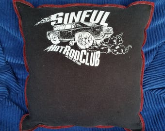 Sinful Hot Rod Club-Upcycled Safe-Sex Pillow, w/ Condom & Lube Pockets, OOAK, black, devil, satan, evil, car, muscle, naughty