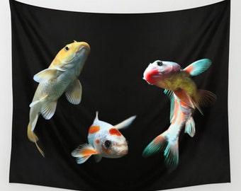 Animal tapestry, fish tapestry, goldfish art, nature tapestry, black tapestry, wall tapestry, black home décor, goldfish tapestry, aquarium