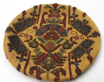 Vintage Beadwork Panel Craft Supplies Vintage Home Deco Beaded Cushion Cover Antique Collectables