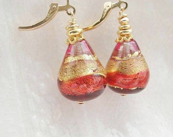 Murano Glass Teardrop Earrings