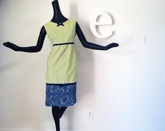 Vintage 60s Yellow Polka Dot Dress Rockabilly PinUp dress Blue Lace Overlay Empire Waist Cotton Sleeveless Knee Length Dress w Velvet Bow