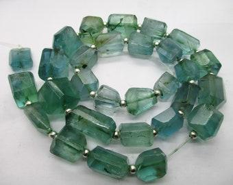 16'' Gem grade Stunning  chunky blue Gem Grade nugget shaped polished faceted  flourite beads Afghanistan F218