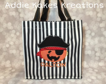 Personalized Halloween Candy Tote Bag with Pirate Pumpkin Design / 3 Bag Print Choices