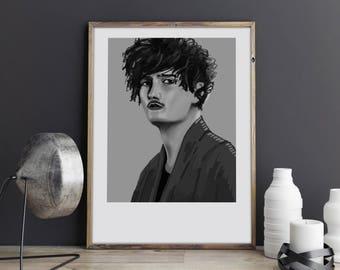 Dawid Podsiadło. Illustration art digital print signed A3 poster Art Gift, Fine Print, Portrait Image Face Poster Wall Home illustration