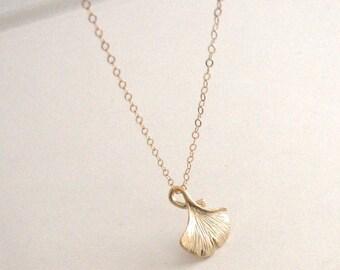 Gold Ginkgo Leaf Necklace, Gold Leaf Necklace, Woodland Jewelry, Woodland Necklace, Gold Leaf Necklace - 14K Gold-Filled Chain