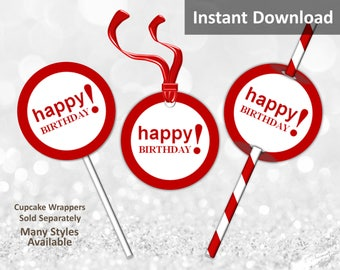 Crimson Red Happy Birthday Cupcake Toppers, Favor Tags or Straw Flags, Instant Download, Party Decorations