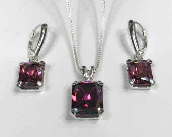 BEAUTIFUL 14ctw Emerald Cut Rhodolite  Garnet Leverback Earrings & Pendant Necklace Sterling Silver Trending Jewelry Gift Raspberry Garnet