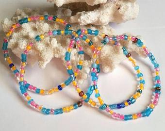 Multi Strand Candy Colored Stretch Bracelet Cuff Jewelry Blue Pink Orange Stack Bracelet Cyber Monday Sale