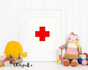 Print - Red Swiss Cross