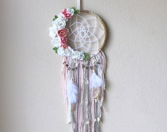"""6"""" Floral and Feather Dream Catcher with initials"""