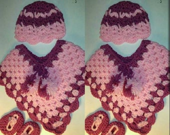Handmade crochet 3pc pancho set