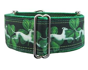 Hounds & Shamrocks adjustable martingale dog collar, greyhound collar, whippet collar, hound collar, satin lining. Made to order.