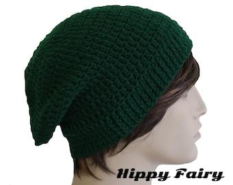 Emerald beanie hat, mens beanie, dark green beanie, crochet mens hat, beanie for men, mens slouch hat