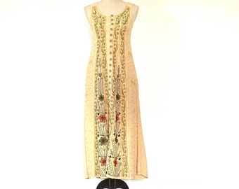90s Hippie Dress - Boho Embroidered Sundress - Vintage Over Dyed Embroidered Floral Boho Hippie Long Dress - Distress Dyed Long Gypsy Dress