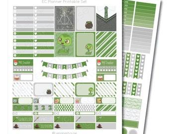 Erin Condren Harry Potter Slytherin Printable Planner Sticker Set, Erin Condren Life Planner, Instant Download