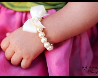 Little Girl Pearl Bracelet with ribbon for first pearls, flower girls, toddler birthday, or babies photo prop