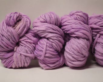 Merino Organic Thick and Thin Yarn Bulky Hand Spun Wool Slub  Hand Dyed tts(tm) Mauve 000x