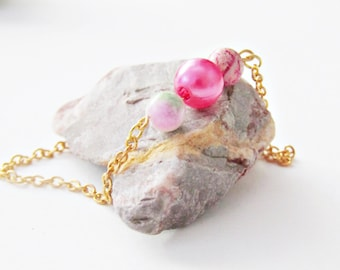 Queen Bohemian bracelet with pink semi precious beads