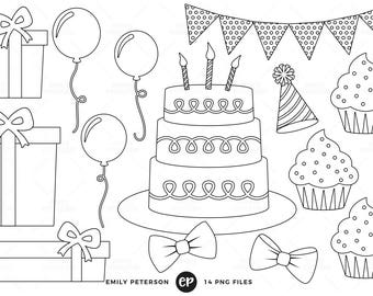 50% OFF SALE! Birthday Party Digital Stamps, Birthday Presents Line Art, Cake Clip Art - Commercial Use, Instant Download