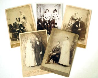 Cabinet Card Photographs, Antique Wedding Photos, Bride and Groom Portraits, Black White Victorian Couples, 1800s Studio Photography