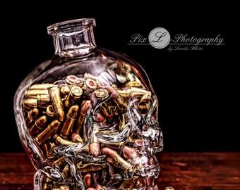 Glass Skull Full of Bullets Still Life Fine ART HDR Photography Giclee Print