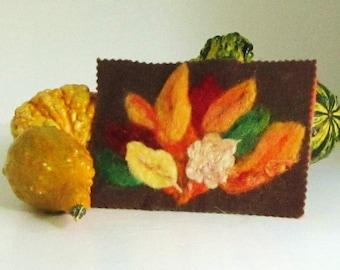 Autumn Leaves Needle Felted Postcard