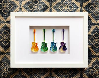 Gibson Les Paul Family Quilling Art - Gift for Musician, Fathers day, Gift for dad, Gift husband, Gift for him, Boyfriend gift, Gift for men