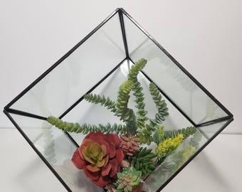 "8.25"" Big Modern Geometric Cube Box Glass Black Terrarium/Succulent/candles/Lights"