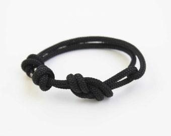 Thick Rope Bracelet - Unisex Figure 8 Rock Climbing Bracelet - Black