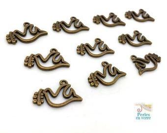 10 charms Dove peace bronze 15x21mm (bre547)