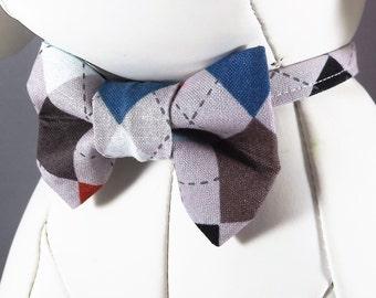 Argyle Dog Collar, Brown Dog Collar, Tan Dog Collar, Diamond Dog Collar, Teal Dog Collar, Dog Collar flower or Collar bow tie included