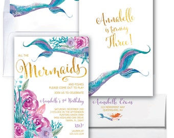 Purple and Teal Mermaid Invitation, Mermaid Birthday Invitation, Under the Sea Invitation, Watercolor, Gold, Floral  - QUEENSLAND COLLECTION